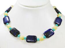 Schöne Edelsteinkette aus Lapislazuli in Rechteckform mit Honigcalcit-Perlen