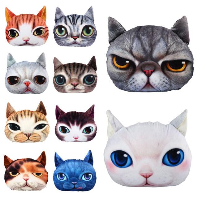 Stuffed Plush 3D Cute Cat Face Throw Pillow Case Home Decor Cushion Cover Toy