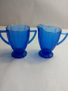 Vintage-Cobalt-Blue-Depression-Glass-Sugar-And-Cramer-Dishes-4-034-tall
