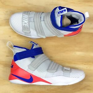 Nike Lebron Soldier XI SFG White Blue Infrared Basketball Shoes ... 1f8c37f7780