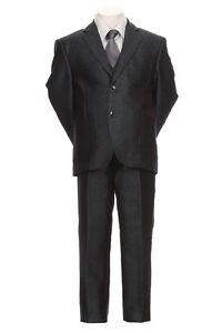 Boy's Toddler Teen 5pc Premium Tuxedo Formal Shiny Dress Suit Vest 2-20_Charcoal