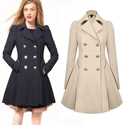 Women Ladies Lapel Windbreaker Long Winter Parka Coat Trench Outwear Jacket