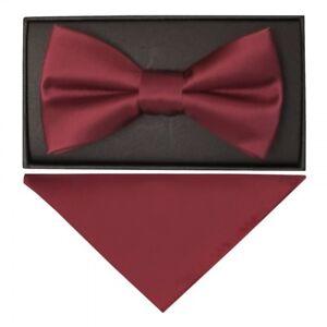 Angemessen Plain Burgundy Hand Made Mens Bow Tie And Pocket Square Set Wedding Prom Tie Verpackung Der Nominierten Marke