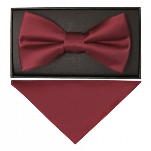 Plain Burgundy Hand Made Mens Bow Tie and Pocket Square Set Wedding Prom Tie