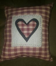Heart Love Homespun Pillow Primitive Country Home Decor Sofa Cushion