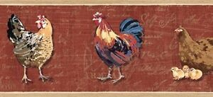 Wallpaper-Border-French-Country-Brick-Red-Rooster-and-Chicks-Hens-with-Script