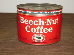 "VINTAGE KITCHEN 3 1/2"" HIGH BEECH-NUT COFFEE CANAJOHARIE NY TIN CAN *EMPTY"
