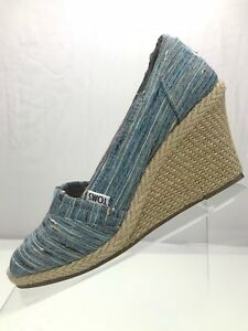 9fbcfc34367 Image is loading Toms-Stella-Espadrilles-Canvas-Wedge-Peep-Toe-Slip-