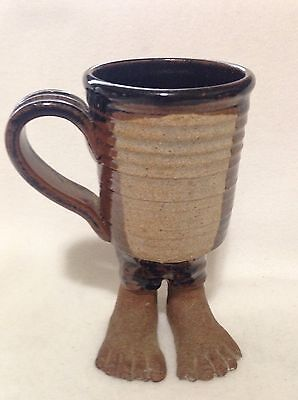 Heavy Quality Handmade Pottery Stoneware Footed Coffee Mug Cup