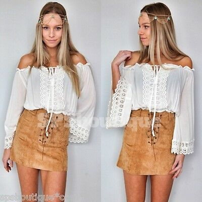 BOHEMIAN lace GYPSY OFF THE SHOULDERS WHITE CROP TOP BOHO FESTIVAL 8 10 12 14