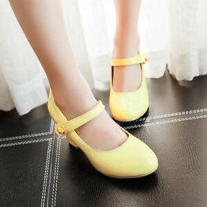 Women-039-s-Round-Toe-Mary-Janes-Block-High-Heels-Sandals-Ankle-Strap-Lolita-Shoes