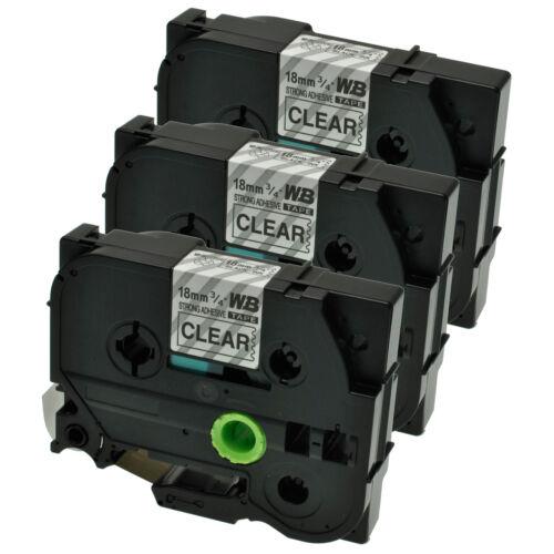 3 Schriftbänder kompatibel zu Brother P-Touch TZE-S141 8m//18mm Schwarz auf Klar