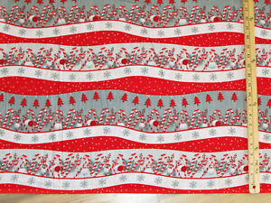 image is loading frosty friends novelty stripe christmas flannel fabric by