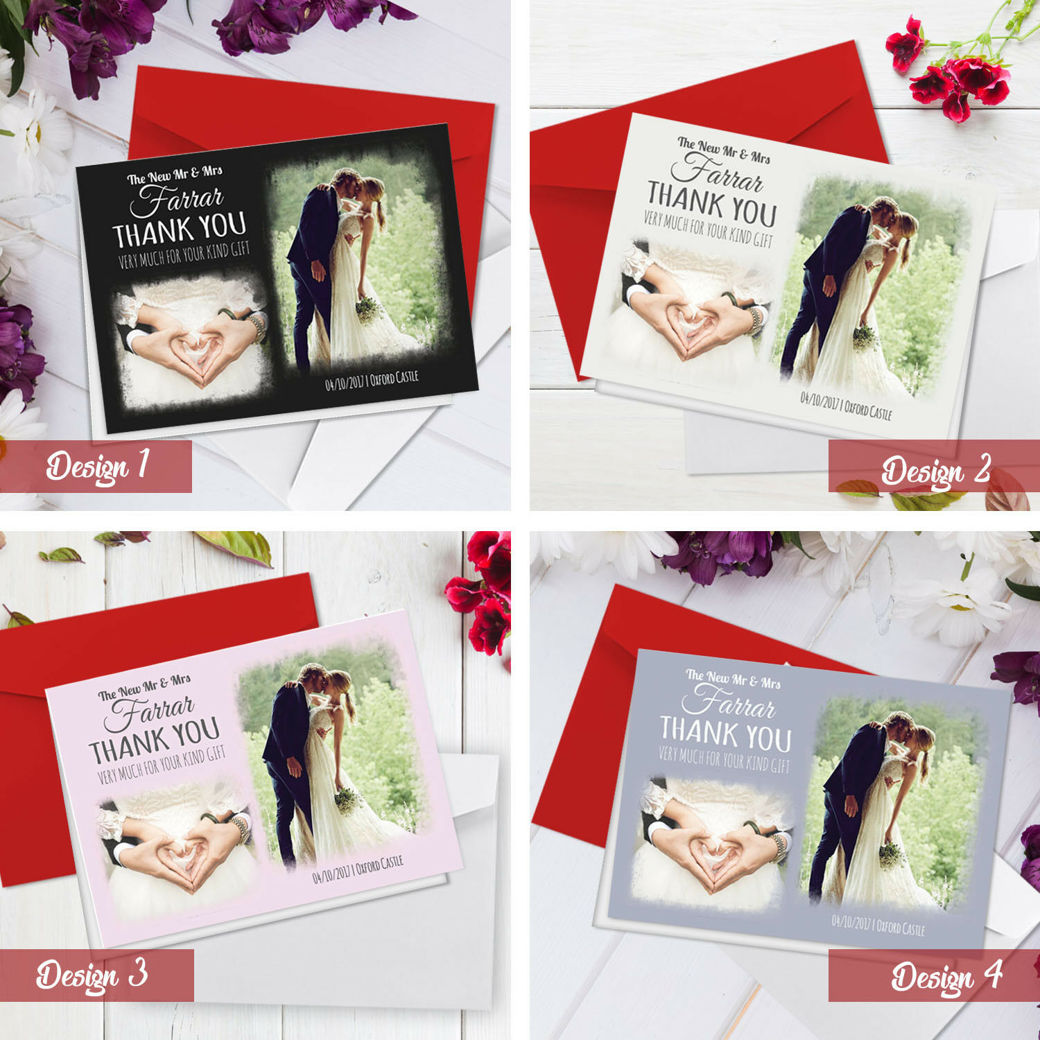 Personalised Wedding Thank You Cards   A5 Folded Cards With Photos + Envelopes