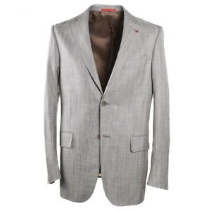 NWT-3250-ISAIA-Greenish-Gray-Woven-Wool-Silk-Linen-Sport-Coat-40-R-Eu-50