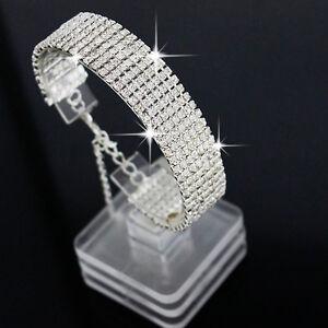 Women-039-s-Fashion-Crystal-Rhinestone-Bracelet-Bangle-Wedding-Bridal-Wristband-Gift