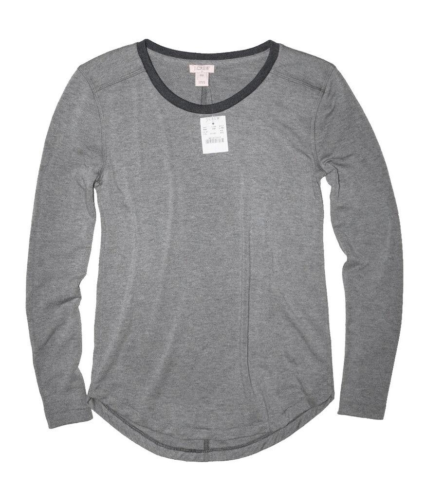 J.crew Usine - Femmes Xs - Nwt - Gris/marine Supercomfy Sweat T-shirt