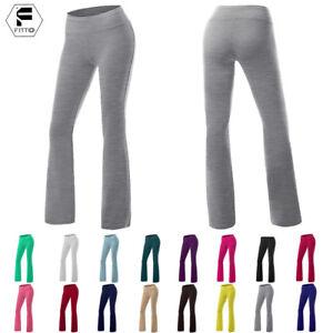 Foldover-Yoga-Pants-Gym-Fitness-Sport-Comfy-Soft-Slim-Flare-Leg-Cotton-Spandex