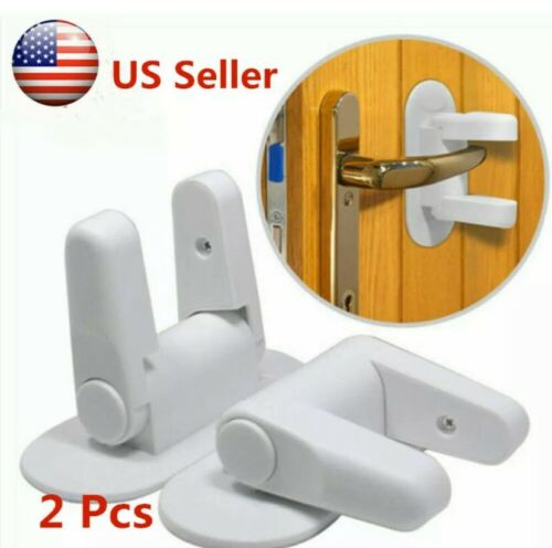 Door Lever Lock Safety Child Proof Doors Adhesive  Handle Baby Safety 4 LOCKS!