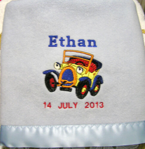 Personalise Cute Car Polar Fleece Satin//Trim Baby Blanket