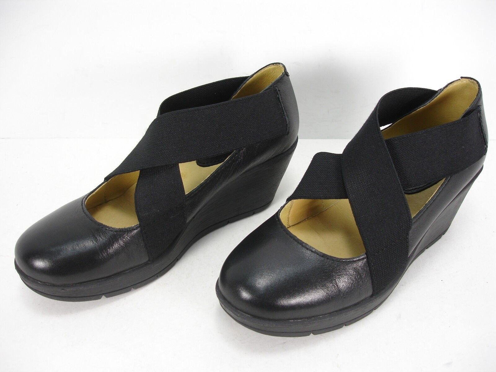 BUSSOLA ZUMAIA BLACK LEATHER WEDGES CRISS CROSS MARY JANE  SHOES WOMEN'S 37 MINT