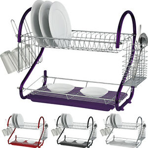 2-TIER-CHROME-PLATE-DISH-CUTLERY-CUP-DRAINER-RACK-DRIP-TRAY-PLATES-HOLDER-NEW