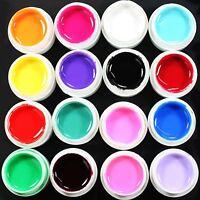 16 Pcs Mix Solid Color Pure Nail Art UV Builder Gel Kit for Acrylic False Tip