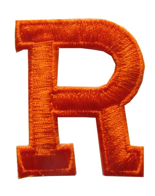 letters orange letter r embroidery iron on applique patch