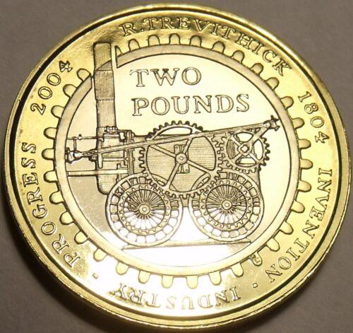 Gem Cameo Great Britain 2004 Bi-Metal 2 Pounds~Steam Locomotive~Excellent~Fr//Shi
