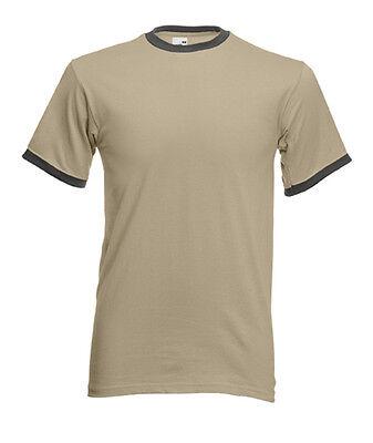 T-shirt RINGER Uomo/Man COLONIALE/GRAFITE CHIARO Fruit of The Loom Short Sleeve