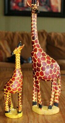 5ft African Carved Wooden Giraffe