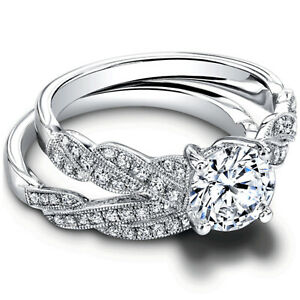 1.20 Ct Round Moissanite Engagement Superb Band Set Solid 18K White Gold Size 9