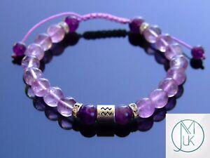 Aquarius Amethyst Birthstone Bracelet 6-9'' Macrame Healing Stone Chakra Reiki