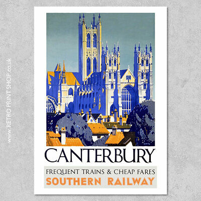 Canterbury 2 Historic City By Southern Railway Vintage Old Retro Poster