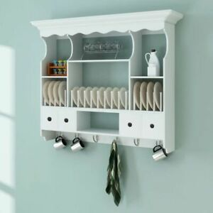 Wooden Wall Mounted Kitchen Display Cabinet Plate Holder Drainer Drawer Shelf Ebay