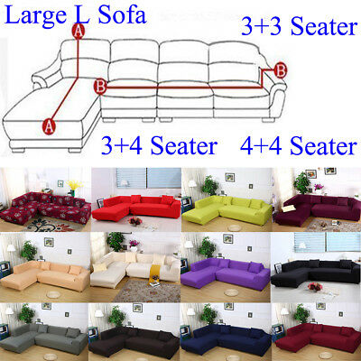 Large 3+3 3+4 4+4 Seater L Shape Sectional Corner Sofa Slipcover Couch  Cover US | eBay