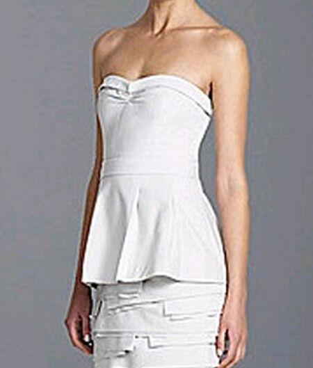 BCBG LT PEARL GREY  ANNIKA PANELLED STRAPLESS DRESS NWT 0