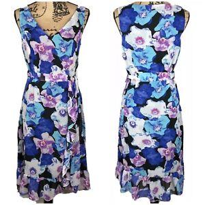 ModCloth-liza-Luxe-Floral-Volantes-Vestido-Cuello-en-V-banda-en-la-cintura-Talla-1X-Flounce