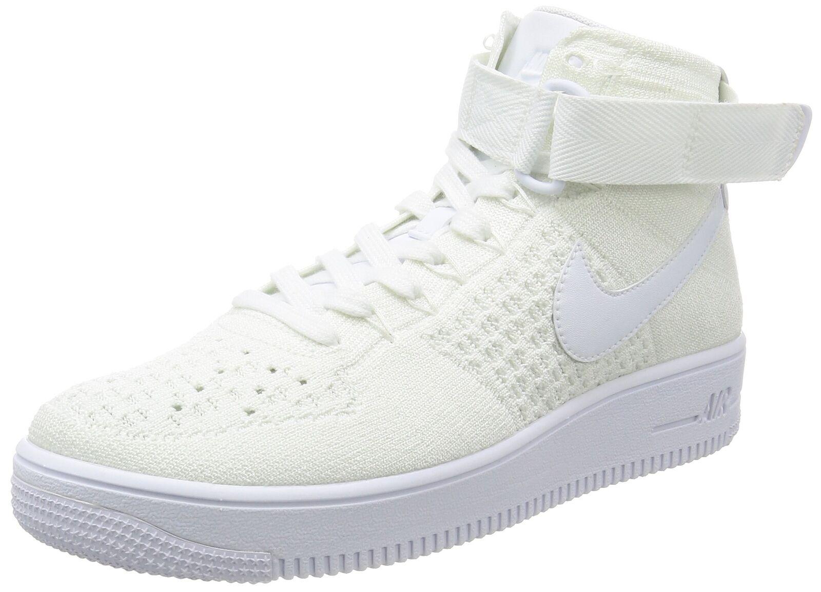NIKE Men's AF1 Ultra Flyknit Mid Basketball Shoe White/White 10 D(M) US