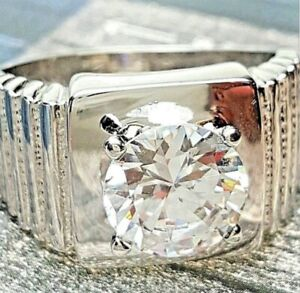 Silver Men's Cocktail Ring Cubic Zirconia  Sizes 10
