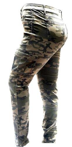 WOMENS PLUS SIZE Distressed Camouflage Skinny Blue Black DENIM JEANS Cargo PANTS