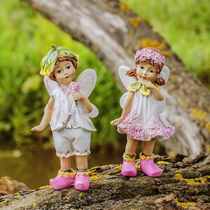 Set-of-Two-Standing-Flower-Fairy-Resin-Garden-Ornaments-Outdoor-Fairies