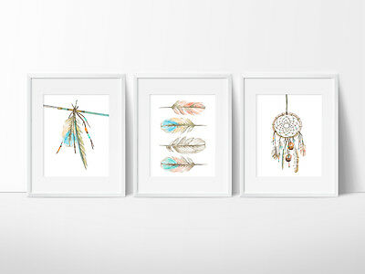 4 Styles Boho Nursery Wall Decor Prints arrows Dream Catcher Tribal Teepee