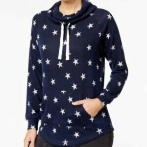 f4d9be6a Details about Ultra Flirt Women's Navy Size S Funnel-Neck Star Print  Sweatshirt