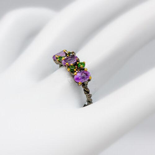 RVS182 Fashion women Natural Gemstone Amethyst 925 Sterling Fine Silver Ring