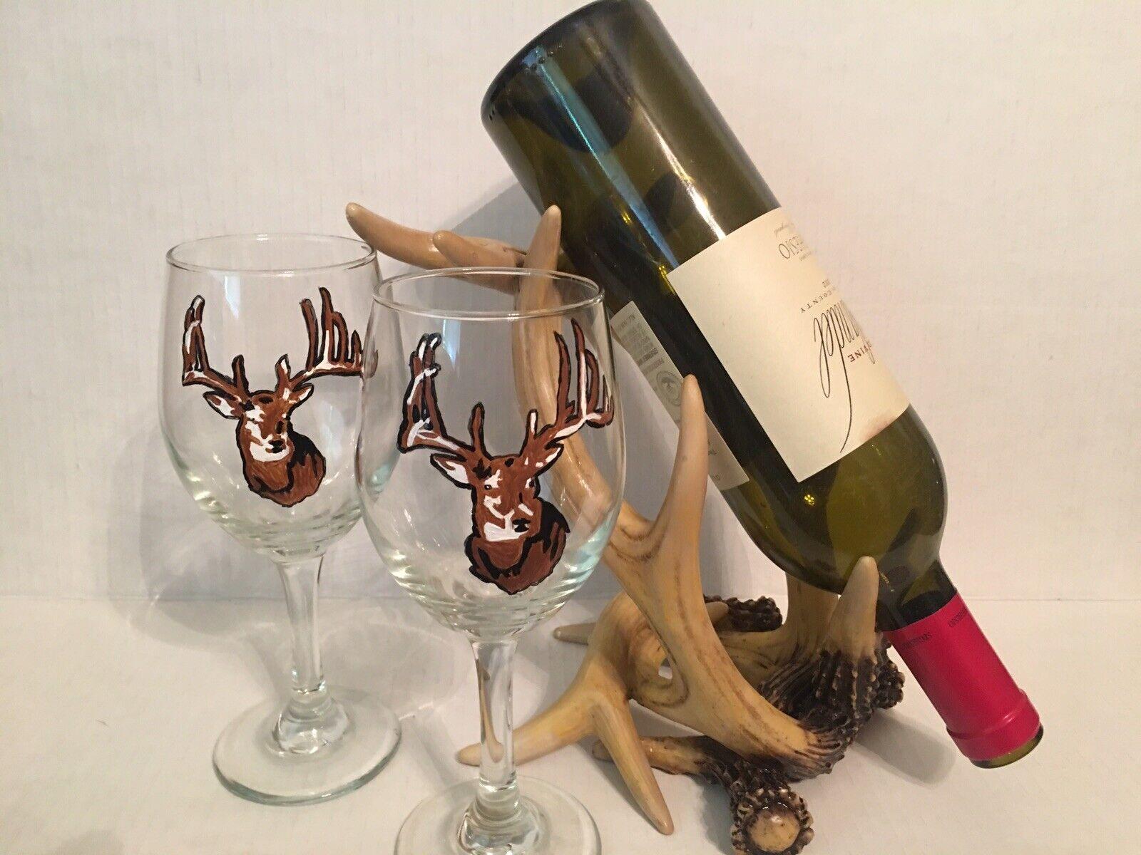 Bois de Cerf Vin et porte-verre Avec Lunettes