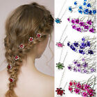 10/20Pcs Crystal Diamante Rhinestone Wedding Bridal Flower Hair Clip Hairpin New