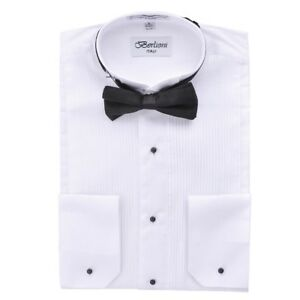 Berlioni-Men-039-s-Wing-Tip-Collar-Tuxedo-Bow-tie-Dress-Shirt-White