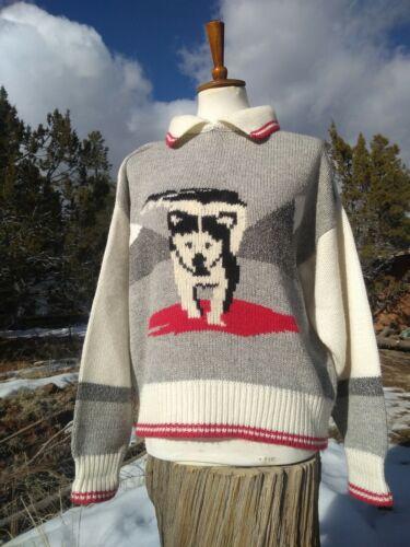 Vtg CATALINA Dog Sweater Southwestern Red Ivory Co