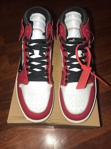 buy popular 2d880 05d6b Details about Nike Air Jordan x Off-White 1 Retro Chicago One Red White  Mens US 9